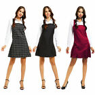 Ladies Women Casual Pinafore Dungarees Buttoned A Line Mini Dress Playsuit