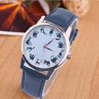Women Casual Watch Cat Dial Leather Stainless Steel Analog Quartz Wrist Watches image