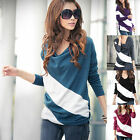 Women Loose Casual Blouse T Shirt Tee Striped Batwing Dolman Long Sleeve Tops