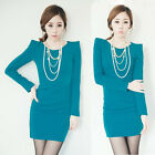 Simple Casual Women's Solid Mini Dress Rib Stitch Long Sleeve Round Neck Sheath