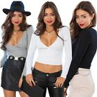 New Women Cotton Blend Party Clubwear V Neck Shirt Blouse Crop Top Cool B20E