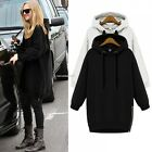 Women Solid Winter Hoodies Long Sleeve Side Zipper Sweats Hoodie Loose Tops New