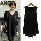 New Womens Chiffon Sleeveless Hem Shirt T-Shirt Blouse Tank Tops Casual S0BZ