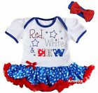 4th of July Baby Red White & New White Blue Star Bodysuit Tutu and Headband
