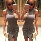 Sexy Women Cowl Neck Sleeveless Knit Party Evening Bodycon Top Mini Pencil Dress