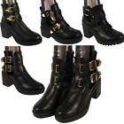 Ladies Womens Girls Buckle Fashion Ankle Chelsea Block Heel Fashion Casual Boots