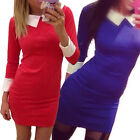 Elegant Women Turn Down Collar 3/4 Sleeve Bodycon Stretch Office Dress