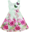 Girls Dress Kids Rose Flower Party Butterfly Princess Wedding Children Size 4-12