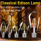 E27 E14 4-16W COB LED RETRO EDISON FILAMENT LIGHT BULB VINTAGE G45/A60/ST64 LAMP