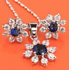 Candy Snow Flowers Gems Sapphire Blue Topaz Silver Jewelry Sets Earrings B8456