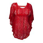 Women Summer Hollow Out Breach Swimming Sheer Crochet Poncho Top T-shirts M-3XL