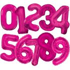"Large Numeral Foil Balloons (34"") Pink Glitz (All Ages) Helium Quality {Unique}"