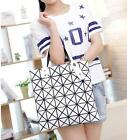 Fashion Women PU Handbag Shoulder Bag Geometry Plaid Casual Large Tote Satchel S