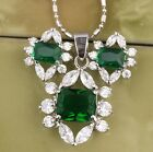 Small & Nice Green Emerald Silver Jewelry Sets Gemstones Earrings Pendant B8154