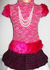 GIRLS BRIGHT PINK FUR TRIM KNIT WOOLLY WINTER PARTY DRESS with NECKLACE