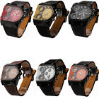 OULM Men's Wristwatches Stainless Steel Quartz Movement Military Leather watches
