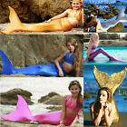 Girls Kids 3pcs Swimmable Bikini Set Swimming Swimsuit + Mermaid Tail Monofin