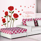 Romantic Wall Sticker Quote Red Rose Life Is The Flower Removable Home Art Mural