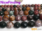 Natural Ocean Jasper Round Faceted Stone Beads for Jewelry Making 6,8,10,12,14mm