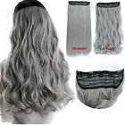 Dyed 60cm 130g Gray One Piece Only Straight Curly Clip In Hair Extensions
