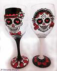 Day of the Dead Bride and Groom Wine Glass Día de Muertos Wedding Sugar Skull