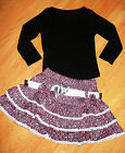 GIRLS TOP & CERISE PINK WHITE BOW GLITTERY PRINT RUFFLE PARTY SKIRT with BELT
