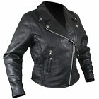 Womens PREMIUM Black Soft Naked Leather Motorcycle Biker Jacket Z/O lining XS, M