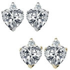 0.01 Carat Heart Cubic Zirconia Birth Gemstone Earrings 14K White/Yellow Gold