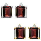 0.01 Carat TCW Diamond Princess Garnet Gemstone Earring 14K White Yellow Gold
