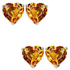6mm Heart CZ Citrine Birthstone Gemstone Stud Earrings 14K White Yellow Gold