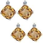 0.01 Carat TCW Diamond Cushion Citrine Gemstone Earring 14KWhite Yellow Gold