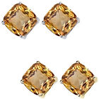 6mm Cushion CZ Citrine Birthstone Gemstone Stud Earrings 14K White Yellow Gold