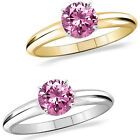 1 Carat Diamond PinkTopaz GemStone Solitaire 14K White/Yellow Gold Promises Ring