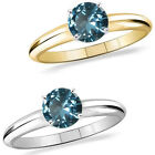 1 Carat Diamond Aquamarine GemStone Solitaire 14K White/Yellow Gold Bridal Ring