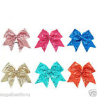 "8"" Large Sequin Cheer Bows Elastic Bands Boutique Girls Ribbon Cheer Bow"