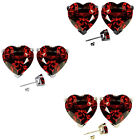 7mm Heart CZ Garnet Birth Gemstone Stud Earring Strling Silver 14k Gold Plated