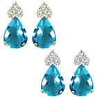 Pear Shape Blue Topaz Gem Birth stone Earrings Silver White/Yellow Gold Plated
