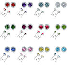 6mm Select Birthstone Gem Color Stud Halo Solitaire Round Silver Earrings