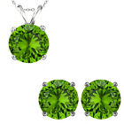 6mm Round CZ Peridot Gem Birthstone Pendant Earring Set 14K White Yellow Gold