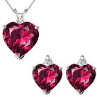 Ruby Heart Birth Gem Stone Set Pendant Earring 14K White Yellow Gold Diamond