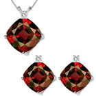 Garnet Cushion Birth GemStone Set Pendant Earring 14K White Yellow Gold Diamond