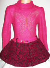 GIRLS BRIGHT PINK GOLD BUTTERFLY LOGO KNIT WOOLLY WINTER PARTY DRESS with BELT