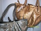 Treska Bronze or Grey Large Tote with Braided Handle and Silver Accents Embossed