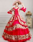 lady Victorian Gothic Period Ball Gown Theare red floral cosplay zipper dress G9