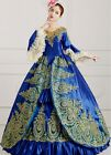 lady embroidery Gothic Period Ball Gown Theare cosplay zipper dress D6263