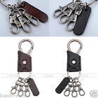 Men's Punk Cool Car Key Chain 3 Small Alloy Buckle Keyrings PU Leather Keychains