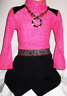 GIRLS PINK KNIT SPARKLE TRIM BLACK WRAP SKIRT WINTER PARTY DRESS with NECKLACE
