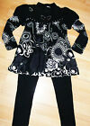 GIRLS BLACK DIAMONTE GREY FLOWER PRINT WINTER KNIT TOP & LEGGING