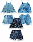 Girls Tassel Fringe Strappy Vest Top & Shorts Summer Fashion Set 3 to 14 Years