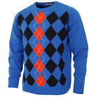 39% OFF RRP Proquip Mens Crew Intarsia Lambswool Golf Sweater Water Repellent